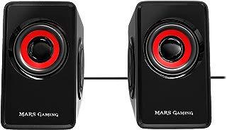 Mars Gaming MS1 - Altavoces gaming (10W potencia, 6 drivers / 2 activos y 4 pasivos, tamaño compacto, subwoofer para graves, USB, Jack 3.5mm, PC / Mac / Smartphone / Tablet), negro y rojo