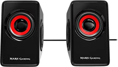 Mars Gaming MS1 - Altavoces gaming (10W potencia, 6 drivers / 2 activos y 4 pasivos, tamaño compacto, subwoofer para graves, USB, Jack 3.5mm, PC / Mac / Smartphone / Tablet), negro y rojo