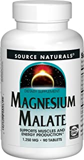 Source Naturals Magnesium Malate 1250 mg Per Serving Essential Magnesium Malic Acid Supplement - 90 Tablets