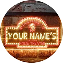 Personalized Your Name Est Year Theme Home Theater Cinema Dual Color LED Neon Sign Red & Yellow 600 x 400mm st6s64-ph2-tm-ry