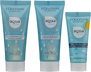 L'Occitane Aqua Reotier Hydration On-the-Go Face Care Travel Set with Cleanser, Toner and Moisturizing Face Cream for All Skin Types