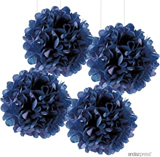 Andaz Press Large Tissue Paper Pom Poms Hanging Decorations, Navy Blue, 14-inch, 4-Pack, Nautical Baby Bridal Shower Wedding Decorations Colored Birthday Party Supplies