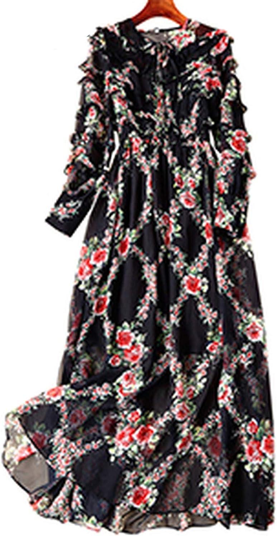 Pinkstar Ruffles Big Pendulum Dresses Vintage ONeck Print Ruffles Petal Sleeve Temperament Dress
