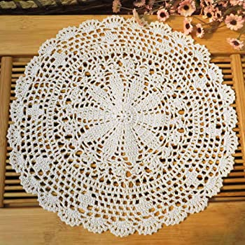 kilofly Crochet Cotton Lace Table Placemats Doilies Value Pack, 4pc, Persia, White, 13.7 inch