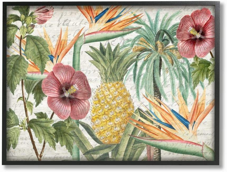 San Diego Mall Stupell Industries Tropical Flower Pineapple Desig Direct stock discount Texture Wood