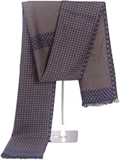 Simulated Cashmere Scarf With Micro Beard For Men Student Winter Houndstooth Scarf