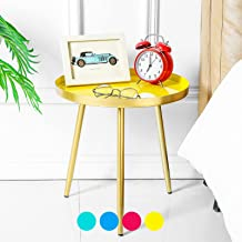 TFer Round Side Table Modern End Table Metal Narrow Nightstand Organizer Boho Small Coffee Table for Bed Room, Living Room...