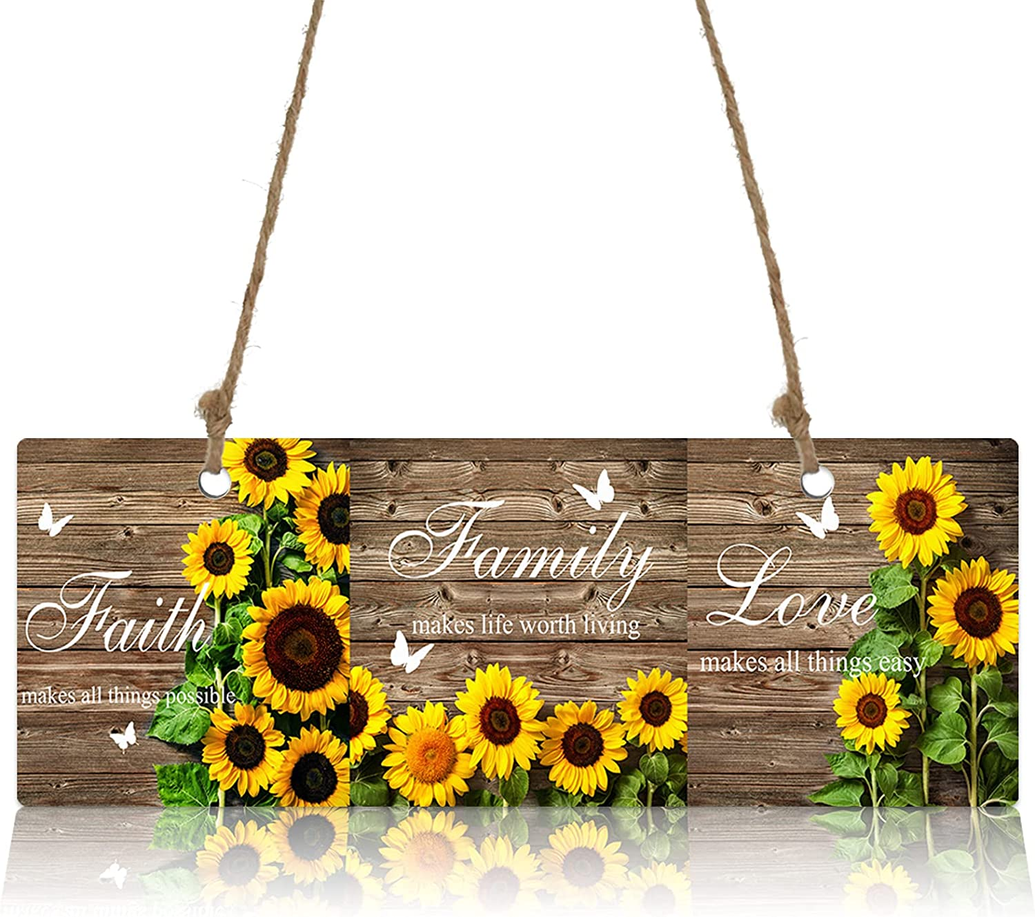 Factory outlet Wall Sign Wood Plaque Vintage Latest item Welcome Pla Sunflowers Wooden Farm