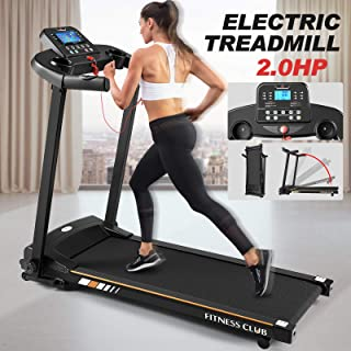 Fitnessclub Folding Electric Treadmill Power Motorised Running Machine with LCD Display, Hand Grip Pulse Sensor,Tablet Holder