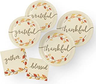 Thanksgiving Paper Plates and Napkins Autumn Fall Party Supplies (64 Piece)