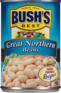 BUSH'S BEST Great Northern Beans, 15.8 Ounce Can (Pack of 12), Canned Beans, Great Northern Beans Canned, Source of Plant Based Protein and Fiber, Low Fat, Gluten Free