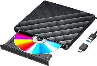 Gueray DVDドライブ 外付け USB3.0 USB-Cアダプター付き DVD/CDプレーヤー ポータブルドライブ CD/DVD読取・書込 DVD±RW CD-RW USB3.0/2.0 Window/Mac OS両対応 高速 静音 軽量...
