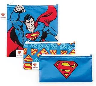 Bumkins 3 Piece DC Comics Reusable Snack Bag, Superman