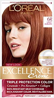 L'Oreal Paris Excellence Creme Permanent Hair Color, 6R Light Auburn, 100% Gray Coverage Hair Dye, Pack of 1