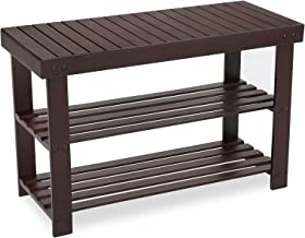 SONGMICS 3-Tier Bamboo Shoe Rack Bench, Shoe Organizer, Storage Shelf, Holds Up to 264 Lb, Ideal for Entryway Hallway Bathroom Living Room and Corridor Brown