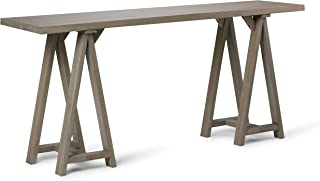 Simpli Home 3AXCSAW-03W-GR Sawhorse Solid Wood 66 inch Wide Modern Industrial Wide Console Sofa Table in Distressed Grey