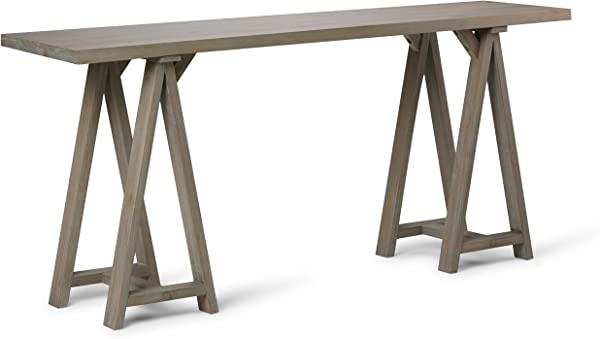 Simpli Home 3AXCSAW 03W GR Sawhorse Solid Wood 66 Inch Wide Modern Industrial Wide Console Sofa Table In Distressed Grey