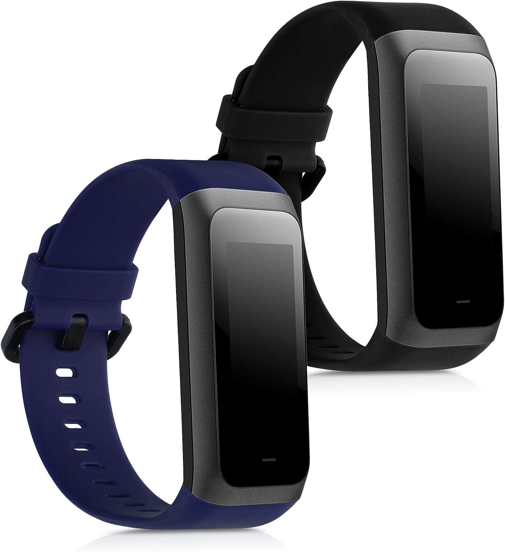 kwmobile Pulsera Compatible con Huami Amazfit Cor 2 / Amazfit Band 2-2X Correa de TPU para Reloj Inteligente - Negro/Azul Oscuro