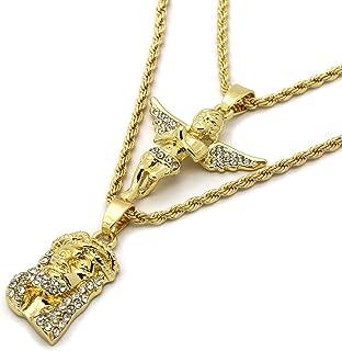 Mens Gold Tone High Fashion 2 Pieces Jesus & Angel Set 2mm 30