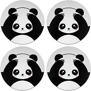 CARIBOU Coasters, Panda Bear Black White Style Design Absorbent ROUND Fabric Felt Neoprene Coasters for Drinks, 4pcs Set