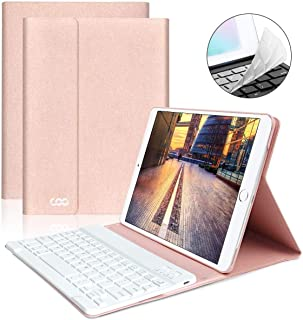 iPad Keyboard Case 9.7 for New iPad 2018 (6th Gen) - iPad Pro 2017 (5th Gen) - iPad Air 2/1 - COO Detachable Wireless Bluetooth Keyboard - Magnetic Auto Sleep/Wake (Pink with White Keyboard)