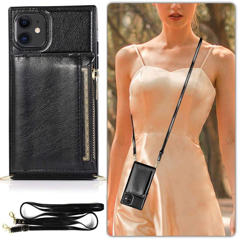 L-FADNUT Crossbody Phone Case for iPhone XR Lanyard Wallet Case with Card Holder for iPhone XR Necklace Crossbody Phone Bag for iPhone XR Rose Gold