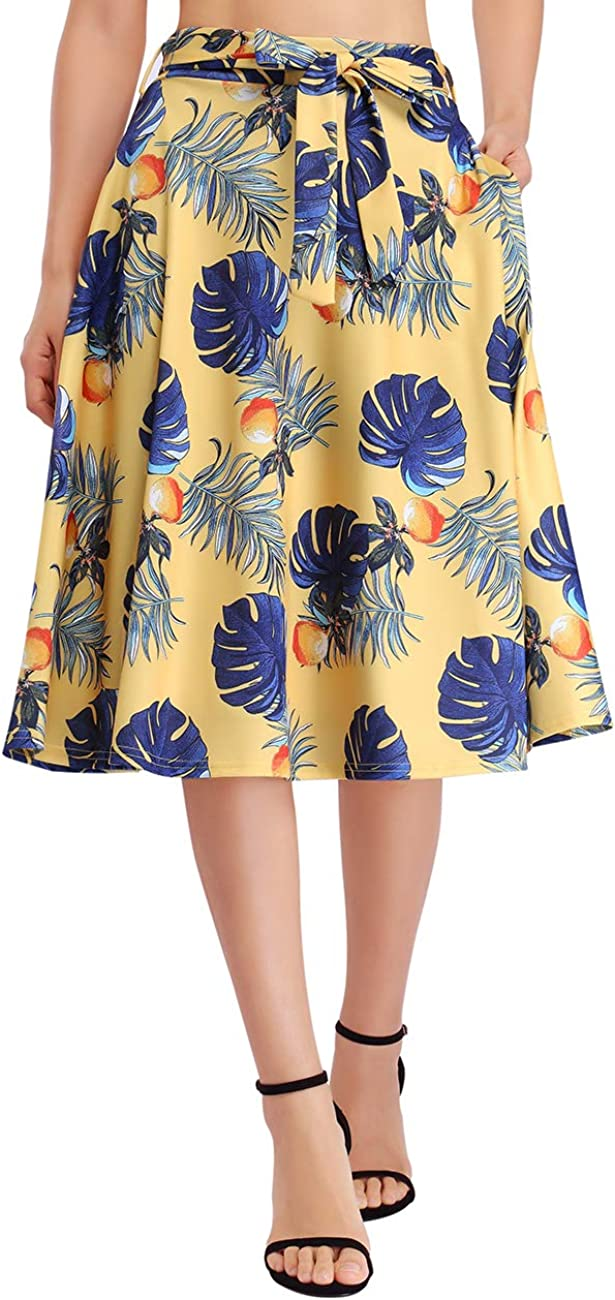 GloryStar Women's High Waist A-Line Flared Skater Skirt Pleated Midi Skirt with Pockets