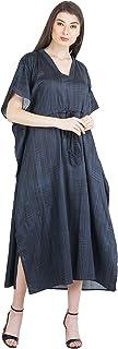 RADANYA Solid Loose Long Maxi Dress Cotton Kaftan Caftan for Women