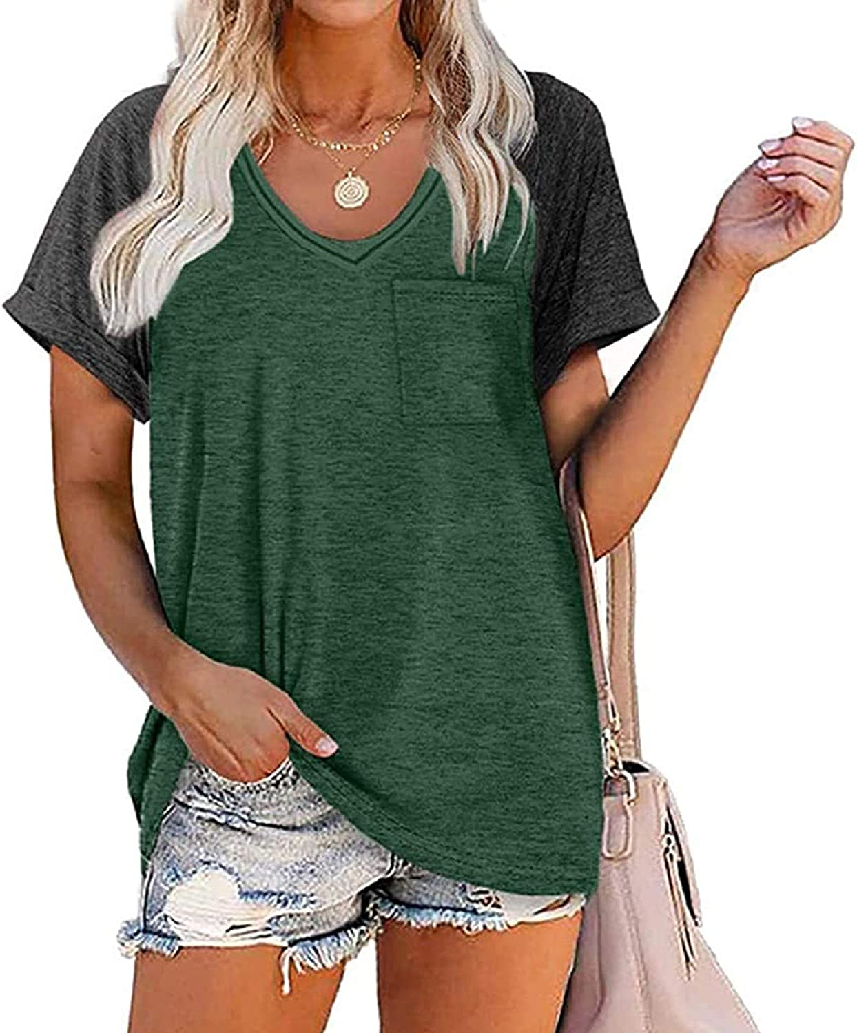 XUEbing Womens Classic Leisure Solid Color Short Sleeve Casual Loose Tops Round Neck Plain Workout Tops Loose Fit