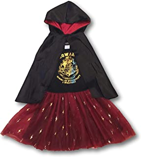 HARRY POTTER Gryffindor Hogwarts Dress-Up Dress & Cape - Layered Tulle Skirt Bolt Print (Medium (7-8)) Black