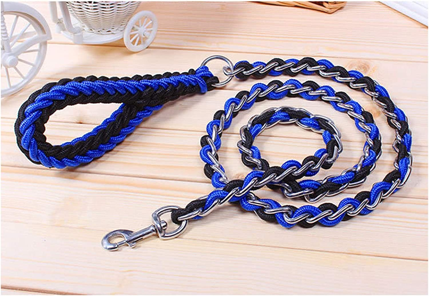 Beatybag Upgraded color Collar Rope Large Dog Leashes Iron Chain Bite Proof Pet Traction Rope for Medium Large Dogs bluee Black XL