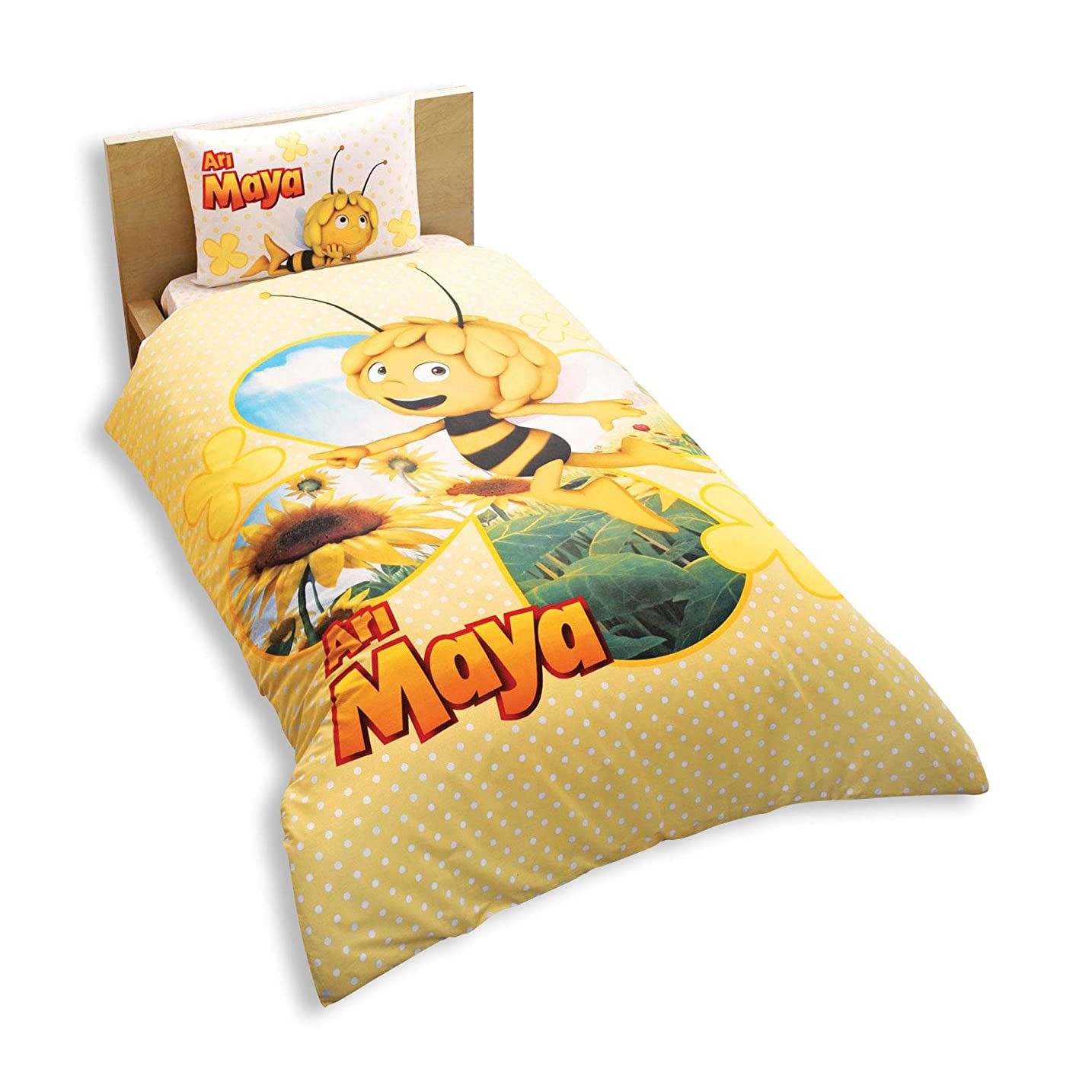 臨検促進するどこでもシングル/ツインGirls Maya Bee Daisy 100?%綿寝具羽毛布団/キルトカバーセット3個