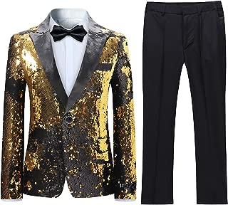 Boys 2 Pieces Suits Tuxedo Suit Shiny Sequins Peak Lapel Slim Fit Jacket Pants Party Performance