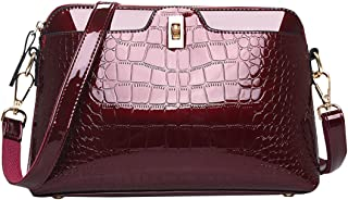 Crocodile Patent Leather Alligator Handbag Shoulder Bag Cross Body Bag