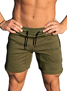 Men's Gym Workout Shorts Weightlifting Squatting Short Fitted Jogging Pants with Zipper Pocket