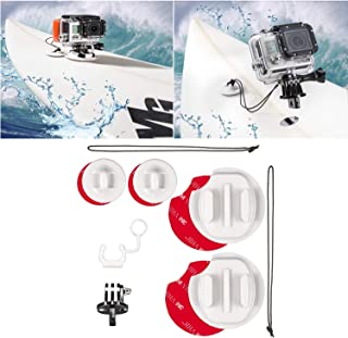 micros2u Kit de Montaje para surfing compatible GoPro Hero 8 7 6 5 4 3 y Session. Incluye cordel de seguridad y enganche FCS