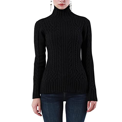 50c46e147c Rocorose Women s Cable Knit Long Sleeves High Neck Pullover Sweaters