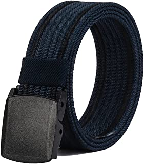 Men's Nylon Belt, Military Tactical Belt with YKK Plastic Buckle, Durable Breathable Canvas Belt for Work Outdoor Cycling ...
