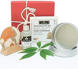 Coffret soin pour gommage corps | Zero dechet | Peeling visage Argile naturel | Pierre exfoliant visage + Savon + Support ...