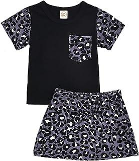 Baby Toddler Girls Leopard Skirt Set Short Sleeve T-Shirt Short Dress 2Pcs Summer Outfits