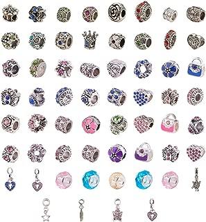PandaHall Elite 60 Pcs Murano Glass Beads Rhinestone Spacers Metal European Beads Dangle Pendant Charms Fit Snake Style Charm Bracelet Mixed Colors
