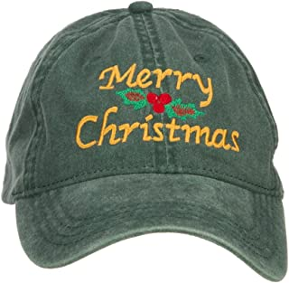 e4Hats.com Merry Christmas Mistletoe Embroidered Washed Dyed Cap