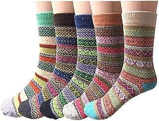 Getadate 5 Pairs Socks Women Thickened Socks Vintage Sock Ethnic Style Tube Cotton Socks Long Socks Warm Winter Crew Socks