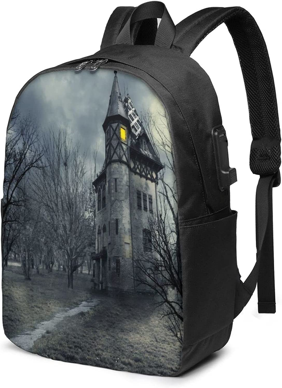 Gothic Haunted House Laptop Backpack Business wit Soldering Popular overseas For Daypack