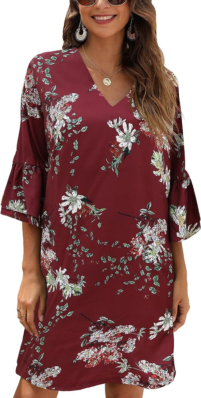 CHERFLY Women's Summer Short Dress V Neck Mini Swing Shift Dress