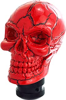 Bashineng Shifter Knobs Skull Style Universal Car Stick Shift Head for Most Manual Automatic Cars (Red Pattern)