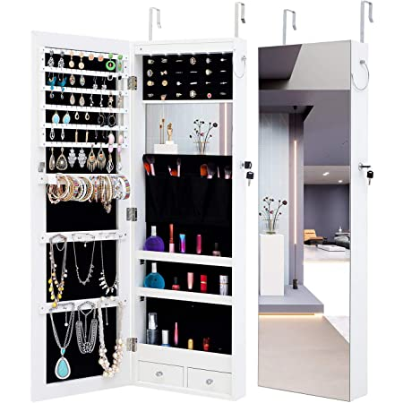 Lockable Jewelry Cabinet Wall//Door Mounted with Full Length Dressing Mirror and Larger Capacity MIYACA 6 LEDs Jewelry Mirror Armoire Organizer