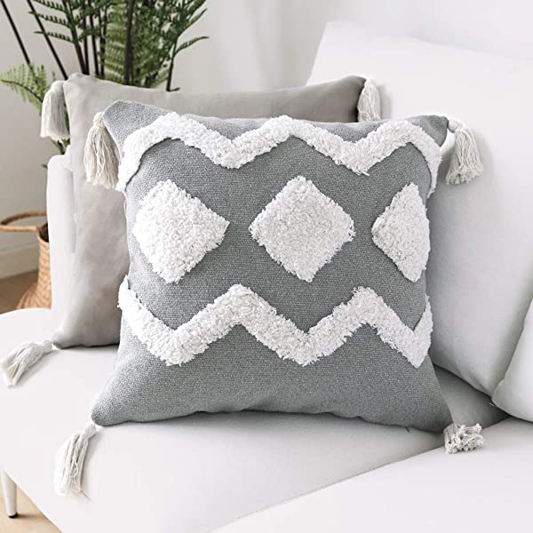 Jasen 18X18 Inch Boho Decorative Pillow Cover Pillow Case With Tassels Neutral Collection Throw Pillow Sham Cushion Cover For Living Room Bedroom Sofa Couch Bed Car Floor Bench Office Decor