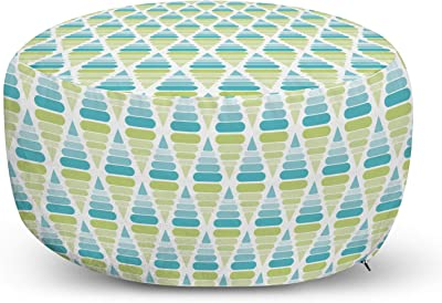 VLiving Pouf Bohemian Ottoman Cover,White Base Multicolor Embroidery-Artisan Room D/écor for Seating Area Stool Floor Pillow Case,Accent Your Living Room Bedroom, 22 X 12 Inches