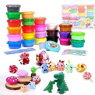 TBC The Best Crafts Pâte à Modeler, 24 Couleurs Argile Sèche à L'air avec Accessoires DIY Bricolage Cadeau pour Enfants